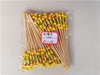 Wholesale Bamboo Cocktail - 12cm Handmade Cocktail Picks Bamboo Handle Braided Decorative Cocktail Skewer Party Cocktail Bamboo Loop Fruit Picks