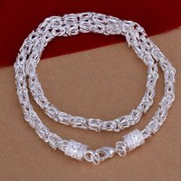 925 Sterling-Silver-Jewelry 20inch Silver Plated Chain Link Necklace para mulheres elegantes New Dragon Necklace Friend Gifts Unisex Accessories
