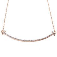 Wholesale Letter T Necklace - wholesale rhinestone jewelry titanium 18k gold smiling T letter women pendant necklace 10 pieces lot free drop shipping