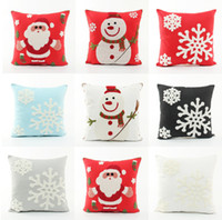 Wholesale Snowflake Cushions - Embroidery Merry Christmas Festival Cushion Cover Embroidered Santa Claus Snowman Snowflakes Cushions Covers Sofa Pillow Case