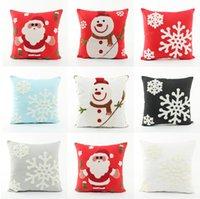 Wholesale Embroidery Linen Cushion Cover - Embroidery Merry Christmas Festival Cushion Cover Embroidered Santa Claus Snowman Snowflakes Cushions Covers Sofa Pillow Case
