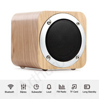 Wholesale Battery Loudspeaker Bluetooth - Wooden Wireless Speaker Bluetooth Loudspeakers Stereo Super Bass Surround Portable Speakers HiFi Subwoofer TF FM 1800mAh Big Battery Music