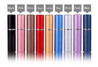 botellas de perfume de colores al por mayor-9 colores 6 ml mini portátil atomizador de perfume recargable colorido botella de spray botellas de perfume vacías aceites esenciales difusores Home Fragancias