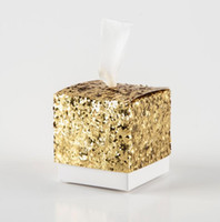 Wholesale paper glitter free online – custom New Wedding Party Favors And Gifts Candy Box Gold Glitter Favor Boxes With Ribbon For Party