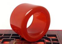 ágatas rojas para la venta al por mayor-Venta al por mayor de alta calidad anillo de ágata rojo Natural ventas calientes anillo de cristal de jade anillos de boda para las mujeres joyería envío gratis