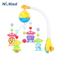 Wholesale Christmas Crib Bedding - NUKied Baby ABS Plastic Plush Hanging Musical Crib Mobile Bed Bell Holder Newborn Toy Holder Rotating Bracket Christening Gift