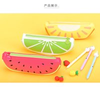 Wholesale Wholesale Pencil Case Set - DHL & SF_Express Fashion Creative fruits Pencil Case Square Pencil Bag PU Leather Christmas stationery set Christmas gifts