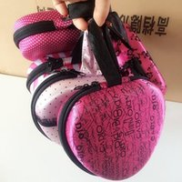 Wholesale heart shaped storage boxes resale online - Storage Box Heart Shape Silicone Invisible Bra Underwear Bag Stylish Pink Stripe Flower Case High Grade Home Finishing Tool pc R