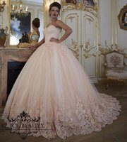 Wholesale Taffeta Corset Beaded Wedding Dress - Vintage blush pink Wedding Dresses Bridal Gowns Turkey Lace Bling Beaded Tulle Sweetheart Corset Back Puffy Plus Size Ball Gown 2017