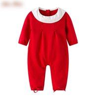 Wholesale Knit Doll Wholesale - Christmas Newborn rompers Baby girls cotton doll lapel knitting jumpsuit Autumn Infants bows long sleeve rompers Baby red clothes C1832