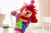 Wholesale Clown Stuffed Toy - Wholesale-Super cute soft plush circus clown hand puppet toy,stuffed children puppet toy, creative baby education & birthday gift, 1pc