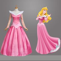 Wholesale Aurora Adult Costume - 2016 Adult Pink Sleeping Beauty Costume Aurora Princess Cosplay Dress With Cloak Halloween Party Stage Performance Costumes