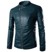 Wholesale Mens Green Color Leather Jackets - New Green Pu Leather Jacket Men 2016 Autumn Winter Fashion Mens Slim Fit Motorcycle Biker Jacket Men Brand Veste Homme