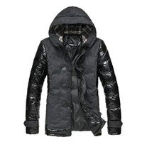 Wholesale Leather Down Coat Men - Fall-2016 Winter Men's Jacket Horn Button Hooded Down Coat Brand Man Patchwork Pu Leather Cotton-Padded Parkas Outwear Thick Overcoat