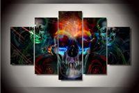 ingrosso pezzo colorato tela di canapa-5 pezzi Colorful cranio astratto pittura murale su tela per la decorazione domestica il buon prodotto per la clientela HD di alta qualità immagini da parete