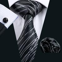 Wholesale Silk Necktie Handkerchief - Mens Accessories Tie for Men Striped Pattern Silk Necktie Ties Set Hanky Handkerchief Cufflinks Neckties Black N-1171