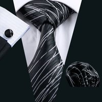 Wholesale Silk Handkerchief Ties - Mens Accessories Tie for Men Striped Pattern Silk Necktie Ties Set Hanky Handkerchief Cufflinks Neckties Black N-1171