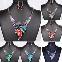 Wholesale enamel choker necklaces resale online - Elegant Womens Necklaces Earrings Set Enamel Color Leaves Chokers Necklaces Party Statement Necklaces Earrings Party Gifts