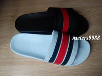 Wholesale Male Beach Fashion - 2017 mens fashion causal beach slide sandals male summer outdoor indoor striped rubber sandals size euro 40-45