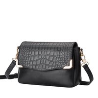 Wholesale quilted leather handbag black - Top Quality fashion Lady's Quilted Import Crocodile grain Leather Handbag Vintage quilted Messenger Shoulder Bag Free Shipping