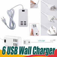 Wholesale Usb Hub Adapter Eu - 6 Ports USB Wall Travel Charger Universal 30W 5V 6A Desktop Wall Charger Portable Hub Multi Port Rapid Adapter US EU UK Plug