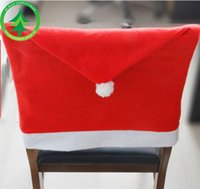 Wholesale Christmas Chair Covers Wholesale - 12pcs lot Christmas Decorations Home Party Holiday Santa Claus Hat Chair Covers Dinner Chair Cap Sets