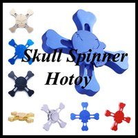 Wholesale Metal Skulls For Sale - Hot Sale Alloy Skull Shape Fidget Spinner Metal EDC Toys 5 Color Hand Spinner For Autism and ADHD Ceramic Bearings Hasbro Toy