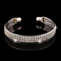Wholesale crystal rhinestone sliders - Crystal Rhinestone Bangle Cuff Bracelet Jewelry Golden Silver Color Fashion Style Luxury 2 Row Rhinestone Bracelet High Quality