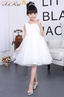 Wholesale Baby Party Dress Free Ems - EMS DHL Free Wedding Party Formal Flower Girls Dress Sleeveless Children Baby First Communion Pageant Dresses with Bow