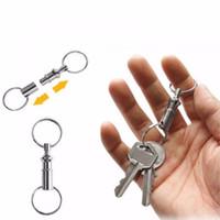 schnelle schnappschüsse großhandel-Outdoor Dual Abnehmbarer Schlüsselring Auseinanderziehen Schnellverschluss Schlüsselbund Schlüsselbund Split Snap Lock Halter Stahl Abnehmbare Schlüsselkette