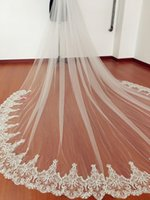 Wholesale 1t Lace Wedding Cathedral Veil - New Soft Tulle 1T Lace Applique Edge With Comb Lvory White Wedding Veil Cathedral Bridal Veils Three Meters Long