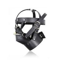 bondage verschlossene kapuze großhandel-Kostüm SEX Party Leder Lock Gimp Spielzeug Kopf Harness Hood Maske Bondage Fetisch HS # R501