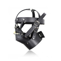 Костюм SEX Party Кожаный замок Gimp Toy Head Harness Hood Mask Bondage Fetish HS # R501