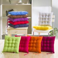 ingrosso sedia di autunno-Cuscino morbido Home Office Sofa Chair Cuscini Tatami Binding Strap Design Cuscino tinta unita in autunno e inverno 4pj F R