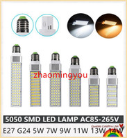 Wholesale G24 11w - YON LED Lamp E27 G24 Corn Bulb 5W 7W 9W 11W 13W 14W Bombillas LED Light SMD 5050 Spotlight 180 Degree AC85-265V Lampada de led