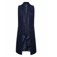 uzun dış giyim yelek toptan satış-Toptan-Kadınlar Beyaz Siyah Uzun Yelek Ceket Europen Tarzı Yelek Kolsuz Ceket Geri Bölünmüş Dış Giyim Casual Top Roupa Kadın 18