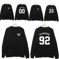 Wholesale Kpop Pullover - Wholesale-2016 NEW KPOP WINNER Black Sweatershirts Pattern Terry Women Men Hoodies Pullovers O Neck Baseball Jacket Black Lovers Clothes