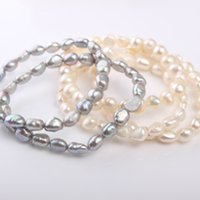 Wholesale Baroque Pearls Bracelets - 1pc 6-7mm Baroque Freshwater Pearl Bracelet Length 17-18cm Jewelry Surprise Birthday Party Gifts Fashion Trends Women