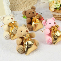 Wholesale Holiday Backpacks - Upscale Gold Backpack Little Bear Wedding Decorations Candy Chocolate Bags For Holiday Party Supplies 100 Sets Free Shipping
