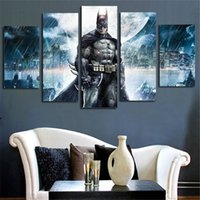 Wholesale Pictures Movie Posters - Home Arts Wall Decor Batman Movie Poster Group Painting On Canvas Pictures Modular Modern Paintings Living Room Bedroom Decor 5 Panel