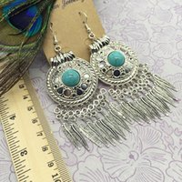 Wholesale Vintage National Bohemian - 2016 Hot National Jewelry Bohemia Earrings Vintage Tibetan Silver Big Circle Turquoise Drop Earings Tassel Dangle Earrings Wholesale Jewelry