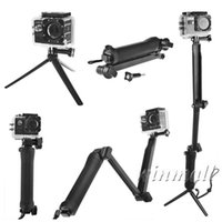Wholesale arm mount camera - 3 Way Grip Monopod Extension Arm Mini Tripod Mount for Xiaomi Yi Hero 4 3 SJCAM SJ4000 SJ5000 Sport Camera Accessories