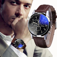 Splendid neue Luxus Mode Faux Leder Männer Blue Ray Glas Quartz Analog Uhren Casual Cool Watch Brand Herren Uhren 2016
