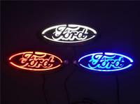 logo del coche azul rojo al por mayor-Para Ford FOCUS 2 3 MONDEO Kuga Nueva insignia auto insignia 5D Insignia Insignia especial modificada coche insignia LED luz 14.5cm * 5.6cm Azul / rojo / blanco