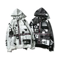 Wholesale M Shade - OFF WHITE 2017 New Hoodie Sweatshirt Brand Clothes Stripes Print Hip Hop newspaper English shading ribbon black & white sweater S~XL