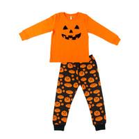 4t halloween kostüme großhandel-Baby Mädchen Jungen Kleidung Sets Baumwolle Kürbis gedruckt Tops Hosen Pyjamas Halloween Kostüm Kinder Nachtwäsche Möbel Sets Kinder Nachtwäsche