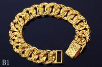 joyería fina cadena de oro al por mayor-Las pulseras plateadas oro 24K no se descoloran encanto para los hombres y las mujeres Enlace de calidad superior, joyería fina de la cadena Envío libre Venta caliente Precio al por mayor