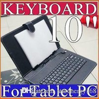 Barato Tablet Pc Preto-Caixa de couro preto OEM com teclado de interface micro USB para 10 MID Tablet PC C-JP