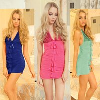 Wholesale Cotton Baby Doll Sleepwear - HOT 7 Color Bow Lace Hot Erotic Sexy Lingerie 2017 New Arrival Baby Dolls Uniforms Sexy Costume Erotic Underwear Tight Sleepwear