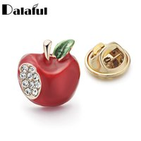 Wholesale Crystal Drops Decoration - Dalaful Cute Women Shirt Collar Brooch Pins Red Crystal Decoration Brooches Garment Dress Accessories Jewelry Z031